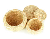 Wicker baskets isolated on white — Stock Photo