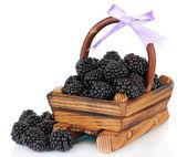 Sweet blackberries in wooden basket isolate on white — Stock Photo