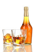 Glasses of whiskey with bottle, isolated on white — Stock Photo