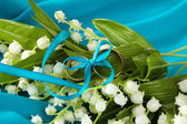 Wedding rings tied with ribbon on flower background — Stock Photo