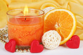 Romantic lighted candles close up — Foto de Stock