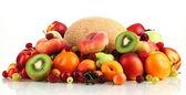 Assortment of juicy fruits, isolated on white — Stock Photo