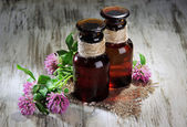 Medicine bottles with clover flowers on wooden table — Stock Photo