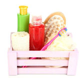 Wooden box with cosmetic products isolated on white — ストック写真