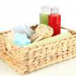 Set for spa in wicker basket, isolated on white — Stock Photo #29020383