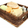 Stock Photo: Set for spa in wicker basket, isolated on white