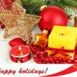 Yellow candle with Christmas decoration — Stok Fotoğraf #29091683