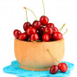 Ripe red cherry berries in bowl isolated on white — Stock Photo #29092345
