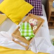 Bed with breakfast close-up — Stock Photo