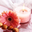 Beautiful pink candle with flower in water — Stock Photo #29094473