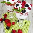 Natural yogurt with fresh berries on wooden background — Stock Photo #29094933
