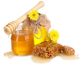 Two jars of honey, honeycombs and wooden drizzler isolated on white — Stock Photo
