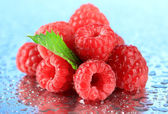 Ripe sweet raspberries with drops, on blue background — Stock Photo