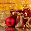 Stock Photo: Christmas decoration on yellow background