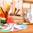 Artistic equipment: paint, brushes and art palette — Stock Photo #29128569