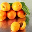 Apricots on metal background — Stock Photo
