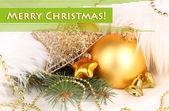 Weihnachtsdekoration in weißes fell — Stockfoto