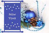 Kerstdecoratie in witte vacht — Stockfoto