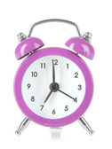 Purple alarm clock isolated on white — Stock Photo