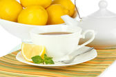 Cup of tea with lemon close-up — Stock Photo