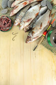 Fishes on fishing net on wooden background — Stock Photo