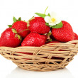 Ripe sweet strawberries in basket, isolated on white — Stock Photo
