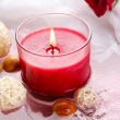 Beautiful red candle with flower petals in water — Stock Photo #29253603