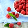 Ripe sweet raspberries in bowls on wooden background — Stock Photo