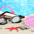 Stock Photo: Conceptual image of summer holidays. On sebackground