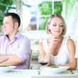 Lovers being unhappy because of  troubled date — Stockfoto