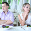 Lovers being unhappy because of  troubled date — Stock Photo