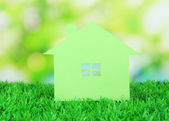 Paper house on grass on natural background — Stock Photo