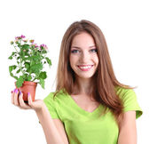 Beautiful girl with flower in pot isolated on white — Foto de Stock