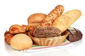 разнообразие хлеба, изолированные на белом — Стоковое фото