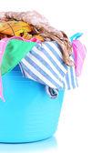 Modrý koš na prádlo izolované na bílém — Stock fotografie
