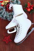 Figure skates on table close-up — Stock Photo