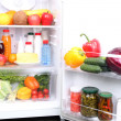 Stock Photo: Refrigerator full of food