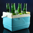 Bottles of beer with ice cubes in mini refrigerator, on dark blue background — Stock Photo