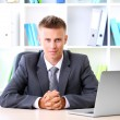 Stock Photo: Portrait of young businessmworking in office