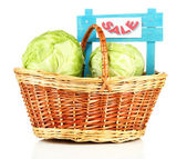 Green cabbage in wicker basket, isolated on white — Stock Photo
