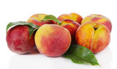 Peaches isolated on white — Stock Photo