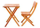 Träbord med stol isolerad på vit — Stockfoto