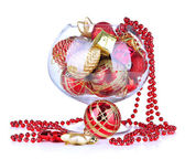 Glass bowl filled with christmas decorations, isolated on white — Foto Stock