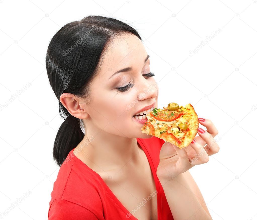 Фото девушка с пиццей