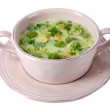 Cabbage soup in plate isolated on white — Stock Photo