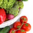 Fresh vegetables in white wicker basket close up — Stock Photo #29312365