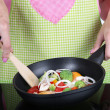 Hands cooking vegetable ragout in pan in kitchen — ストック写真 #29312595