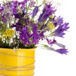 Beautiful bouquet of wildflowers in cup, isolated on white — Stock Photo