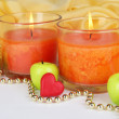 Romantic lighted candles close up — ストック写真