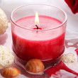 Beautiful red candle with flower petals in water — Stock Photo #29313221